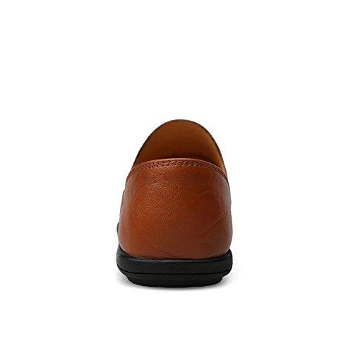 Scarpe Dimensione 40 2018 Slip Mocassini da pelle in Mocassini Da Penny guida Vamp EU Mocassini vera Morbida on per uomo Uomo Shufang Marrone Color shoes B5qwgg