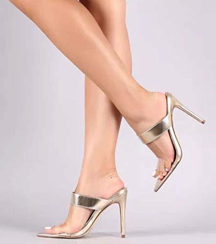 Sandalias Alto Claras Zapatos Plataforma Zapatillas Lucite De Suelta Verano 37eu Cómoda Tacón Mujeres Puntera Ghfjdo Punta gold Abierta Caminar qx4IFF
