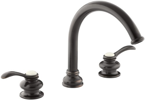 (KOHLER T12885-4-2BZ Fairfax Deck-Mount Bath Faucet Trim with Lever Handles and Traditional 8-7/8-Inch Non-Diverter Slip-Fit Spout, Valve Not Included, Oil-Rubbed Bronze)