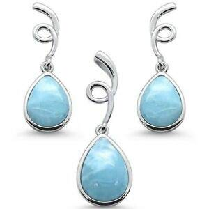 Natural Larimar Pear Shape Spiral Dangle Earring & Pendant 925 Sterling Silver - Jewelry Accessories Key Chain Bracelet Necklace Pendants