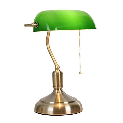 SIHER Retro Bankers Table Lamp, Bedside Green Vintage Lamp Shade with Brass Base -