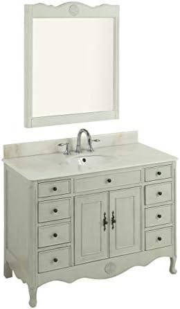 46.5 Benton Collection Distressed Distressed Grey Daleville Bathroom Sink Vanity w Mirror Set HF-8535CK-MIR-BS