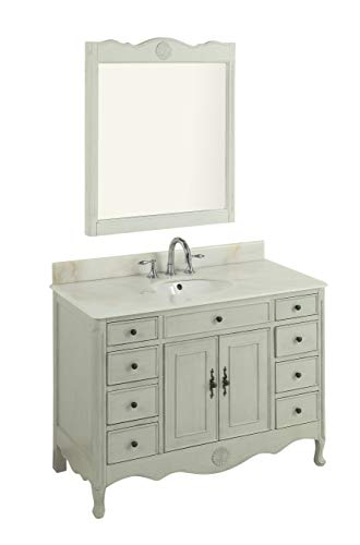 Chans Furniture 46.5 Benton Collection Distressed Distressed Grey Daleville Bathroom Sink Vanity w mirror set HF-8535CK-MIR-BS