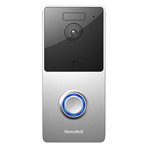 RemoBell WiFi Video Doorbell (Battery Powered, Night Vision, 2-Way Audio, HD Video, Motion Sensor) (Silver) (Renewed)