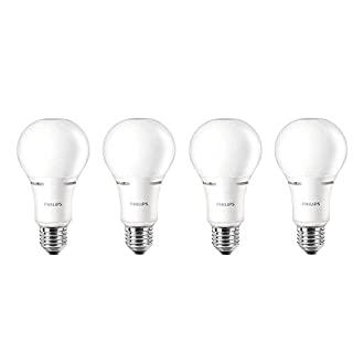 Philips LED Dimmable A21 Soft White Light Bulb with Warm Glow Effect: 1100-Lumen, 2700-2200-Kelvin, 14-Watt (75-Watt Equivalent), E26 Base, Frosted, 4-Pack (Old Generation)
