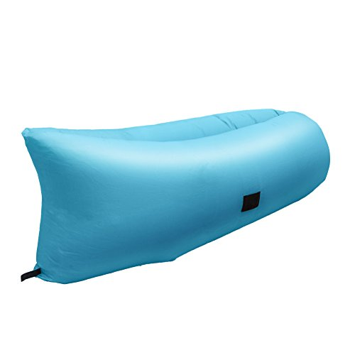 GizmoVine NO PUMP Inflatable Lounge Bag Hammock Air Sofa and Pool Float Ships Fast! Outdoor Sleeping Bag Hangout Bean Bag Easily Inflates for Camping, Beach, Party, Backyard, Blue (Pool Float Air Mattress)