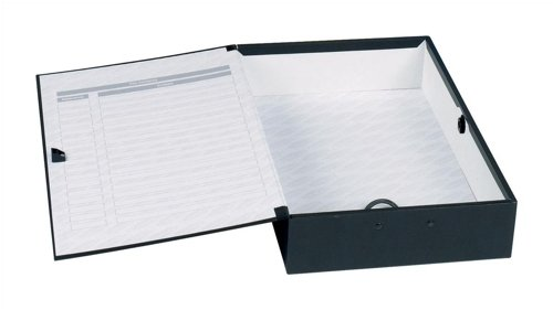 Concord Classic Box File Paper-lock Finger-pull and Catch 75mm Spine Foolscap Black Ref C1282 [Pack of 5]