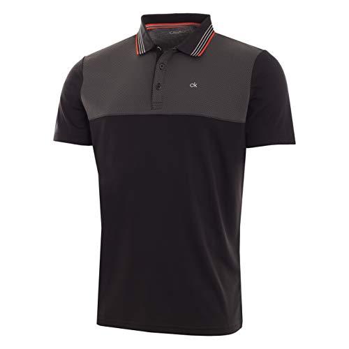 Calvin Klein Golf Men's 39TH Street Polo, black/red S Black Mini Stripe Polo