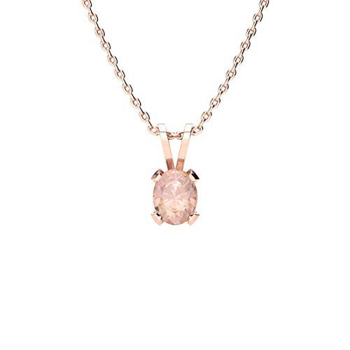 1/3 Carat Oval Shape Morganite Necklace In Rose Gold Over Sterling Silver, 18 Inches