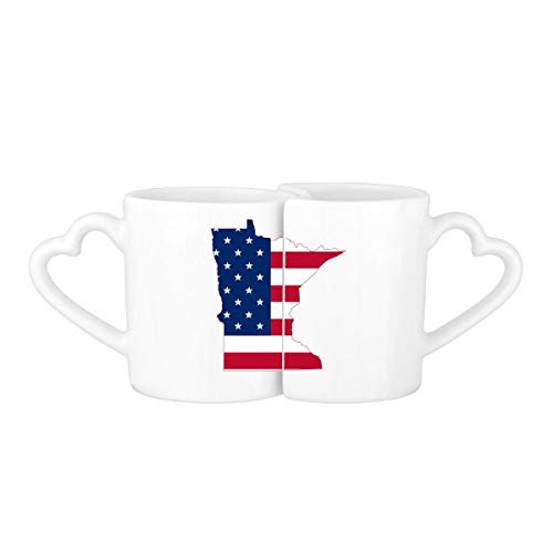 The United States Of America USA Minnesota Map Stars And Stripes Flag Shape Lovers' Mug Lover Mugs Set White Pottery Ceramic Cup Gift Milk Coffee Cup with Handles