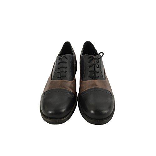 FABBRICA DEI COLLI scarpa donna bicolore blu / moro allacciata tacco cm 3 mod 1700 2/103 100% pelle