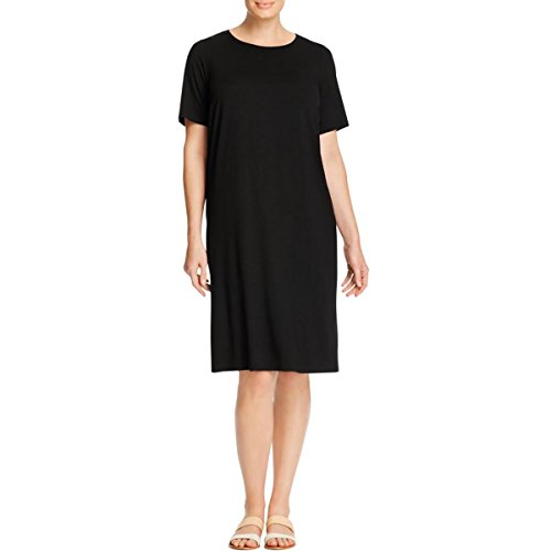 Eileen Fisher Womens Plus Jersey Side Slit Shirtdress Black 3X