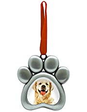 Pearhead Pet Pawprint Metal Holiday Photo Frame Ornament, Christmas Pet Owner Gift, Silver