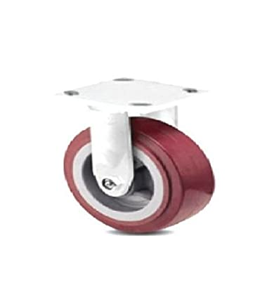 "One Colson Rigid Plate Caster with Maroon Polyurethane 4"" x 2"" Wheel 4-4108-929"