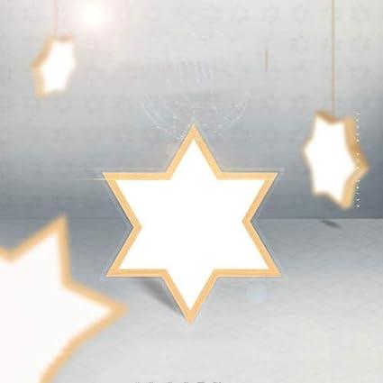 SHAOYH Nordic Schlafzimmer Deckenleuchte Massivholz Kreative Warme Raumlampe IKEA Holz Einfache Studie Deckenleuchte Japanische Led Lampe Geometrische Flur Lampe Kreative Stern Tricolor Dimmen Kinderz