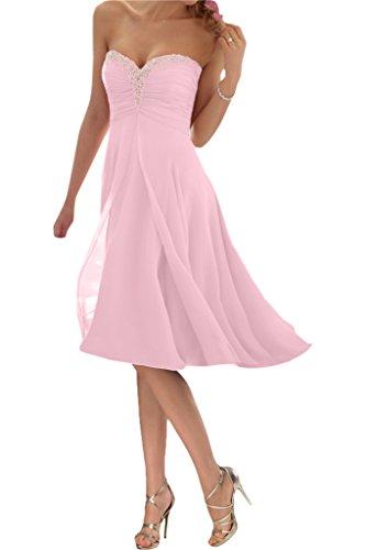 Promgirl House Damen Glamour Traegerlos A-Linie Chiffon Abendkleider Cocktail Ballkleider Kurz-48 Rosa Kurz