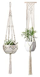 """Material:Cotton. Color:Ivory. Package:2 Pcs. Size:41"""" Length and 46"""" Length. This macrame plant hanger is an interesting way to display houseplants in any room. Make it your own by adding your favorite succulents, air plants, herbs, or even seasonal ..."""