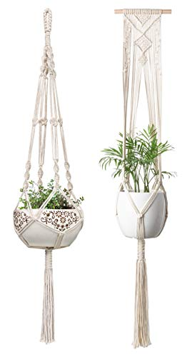 Mkono Macrame Plant Hanger Hanging Planter Wall Art Boho Home Decor 41 Inches and 46 Inches, Set of - Planter Wall Brass