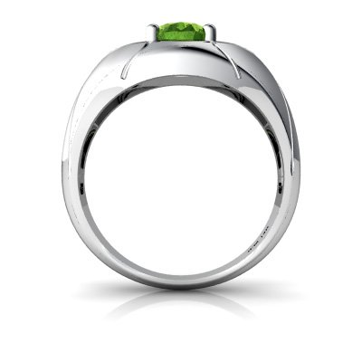 Size 11 Argentium Silver Peridot and Diamond Oval Mens Ring