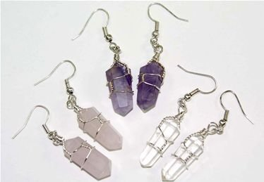 (3 Pair Double Terminated Wire Wrapped Amethyst, Quartz & Rose Quartz Crystal Pt. Earrings Costume)