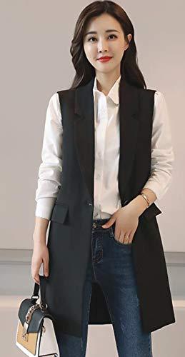 Alhyla レディース ダウン ベスト 秋 冬 スリム ベスト ノースリーブ 一つボタン ダウンベスト ロングベスト 中綿 無地 スカジャン コート 韓国ファッション ベスト