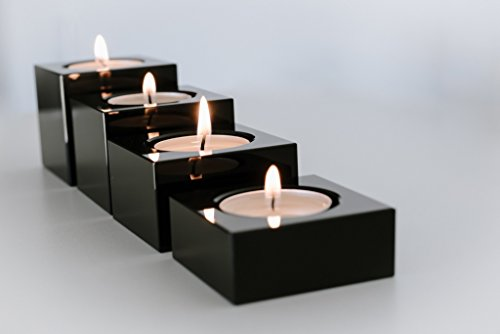 Black Crystal Candle Holders, Heavy Solid Square Tealight Holder Set, Elegant and Classy Gift Box, By Emu Blu (Black Candle Glass)