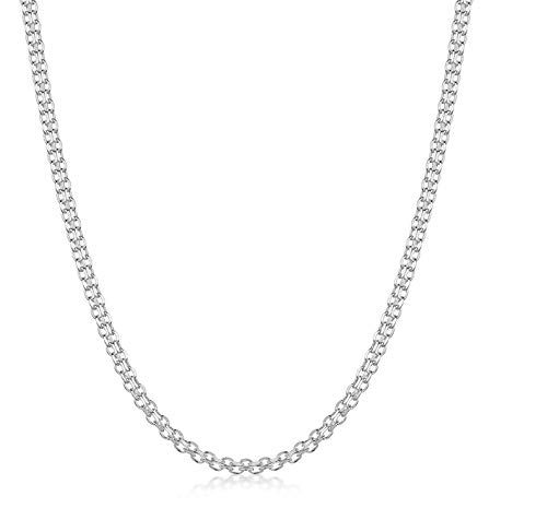 Pori Jewelers .925 Sterling Silver Italian Bismark Chain Necklace - 1.8mm, 2.2mm, 3mm - (20, 2.2mm)