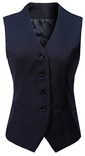 Vocni Women's Fully Lined 4 Button V-Neck Economy Dressy Suit Vest Waistcoat (US XL+ (Fit Bust 44.5
