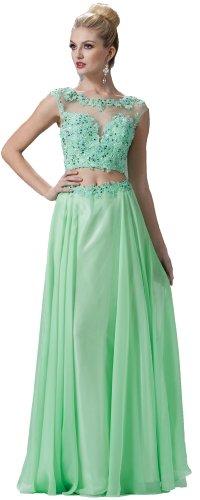 Meier Women's Embroidery Open Back Prom Evening Formal Dress Mint-6