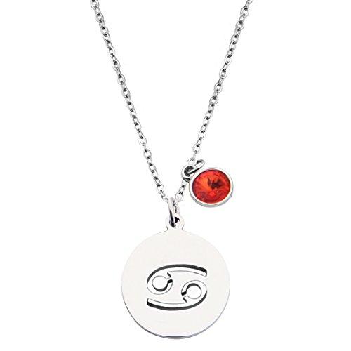 KUIYAI Stainless Steel Zodiac Sign and Birthstone Charm Necklace Bracelet (January-Cancer ()