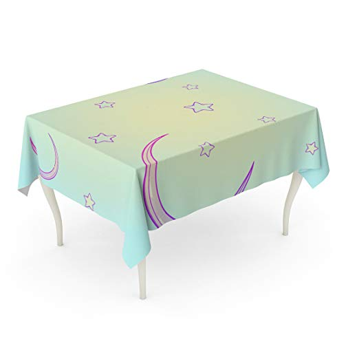 Semtomn Rectangle Tablecloth Kawaii Cartoon Night Sky Stars and Moon Crescent Festive 60 x 90 Inch Home Decorative Waterproof Oil-Proof Printed Table Cloth]()