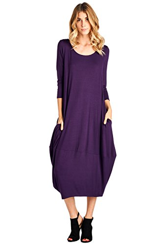 12 Ami Solid 3/4 Sleeve Bubble Hem Pocket Midi Dress Purple L,Large