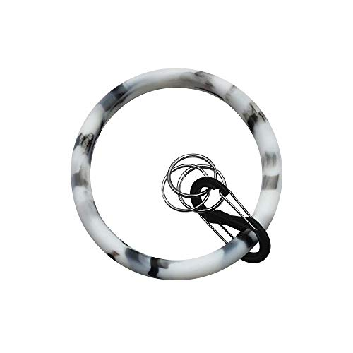 - Zhaoyun Silicone Bangle Key Ring Wrist Keychain Bracelet Round Key Rings Chain-Grey