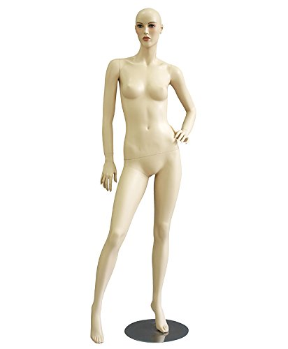 AMKO JOYCE/3 No Hair Female Mannequin, Right Leg Out, Left Arms on Hip, Sculptured Body, Muscle Definition, Material, Detachable Arms, Legs, Hands, & torso, Easy Dressing, Stylish by AMKO