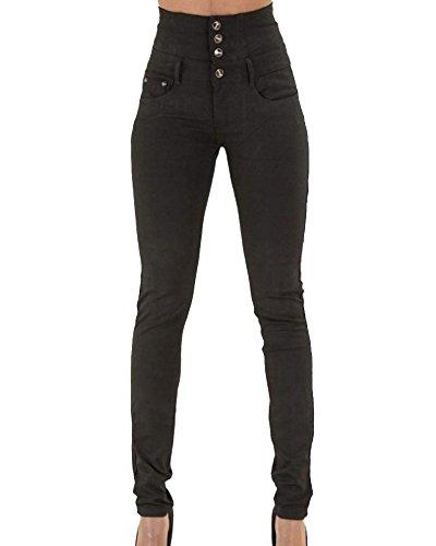 ZhuiKun Pantalones para Slim Vaqueros Skinny Elásticos Negro Push Leggings Mujer Up Jeans rrqWBda