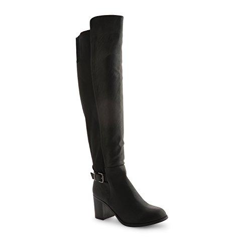 Nuevo bloque de Dolcis para mujer Mid tacón elástico rodilla alta Sexy largo botas para mujer invierno botas estilo equitación zapatos negro