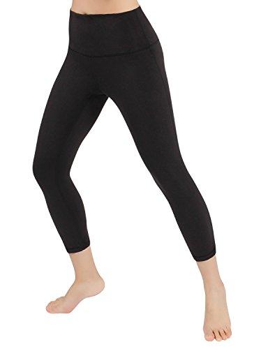 "ODODOS High Waist 22"" Yoga Capris Pants Tummy Control Workout Running 4 Way Stretch Yoga Capris Leggings,Black,Large"