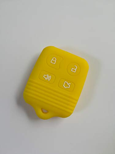 Town Ford Lincoln Mercury Auto Repair - TCKEY Yellow Silicone Protective Fob Skin Key Cover Jacket Protector Sleeve Holder Keyless Entry Fob Remote for FORD LINCOLN MERCURY Remote Key Case Fob 4 Button
