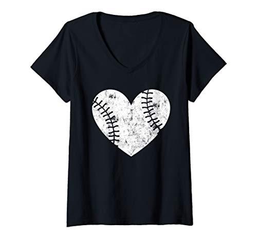 Womens Baseball Ball Heart TShirt Funny Baseball Jersey Men Women  V-Neck T-Shirt