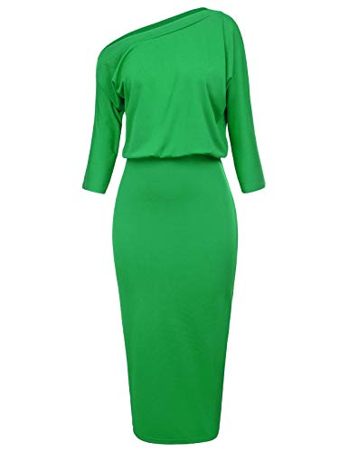 GRACE KARIN Women's Elastic Waist One Shoulder Party Pencil Dress Size L Green CL1054-3