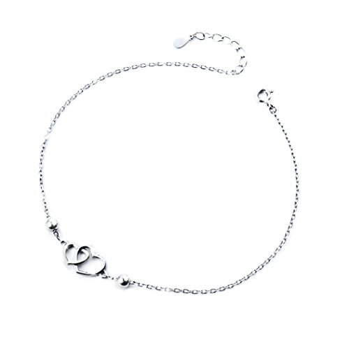 S925 Sterling Silver Double Heart Anklets for Women Adjustable Foot Ankle Bracelet -