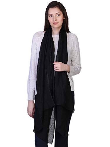 (100% Linen Scarf Spring Summer Womens Mens Fashion Solid Stole Black)
