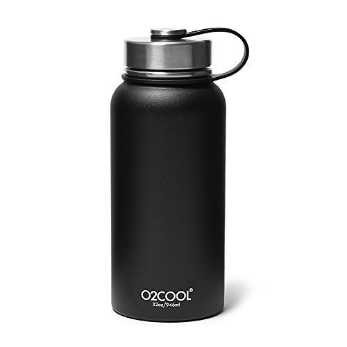 (Eddie Bauer Unisex-Adult O2Cool 32-oz Sequoia Bottle, Black Regular ONESZE)