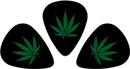 Guitar Pick 3 Pack - Green Pot Leaf on Black (Marijuana, Hemp, Bud, Grass)