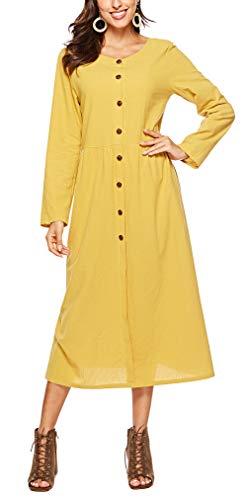 LouKeith WomensDressesLongSleeveRoundNeckButtonDownLooseCasualDresswithPockets Yellow M