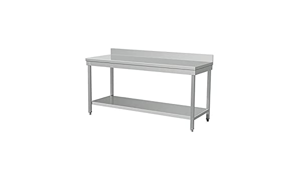 Saro mesa acero inoxidable adossée 1400 x 700 x 850 mm ...