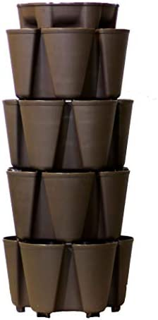 GreenStalk Huge 4 Tier Vertical Planter for Urban and Small Space Gardening Chocolate Brown