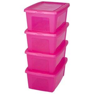 Caja de almacenamiento x 4, caja de almacenaje, caja plastico Rosa, caja con