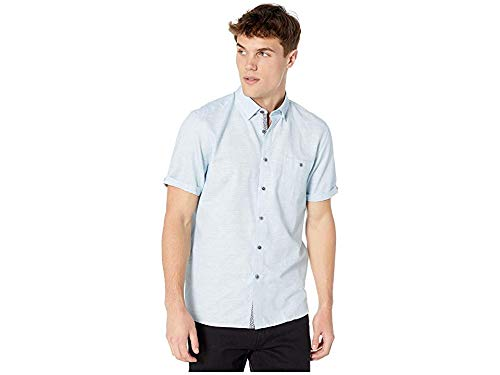 Ted Baker Men's Clion Short Sleeve Linen Shirt Blue 6