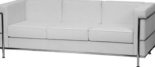 - Campton Regal Series Office Lounge Contemporary White Leathersoft Sofa w/Encasing Frame | Model LNGCHR - 330